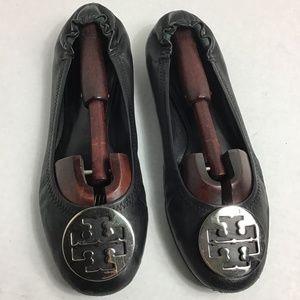 Tory Burch Reva flat black silver with wear 10